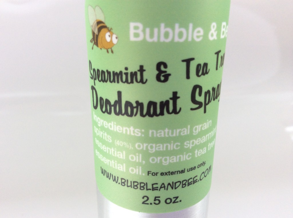 Bubble & Bee Organic Deodorant Spray in Spearmint & Tea Tree (2.5 oz)