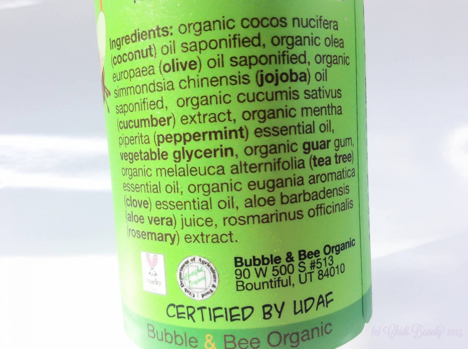 Bubble & Bee Facial Cleanser in Cool Cucumber Ingredients
