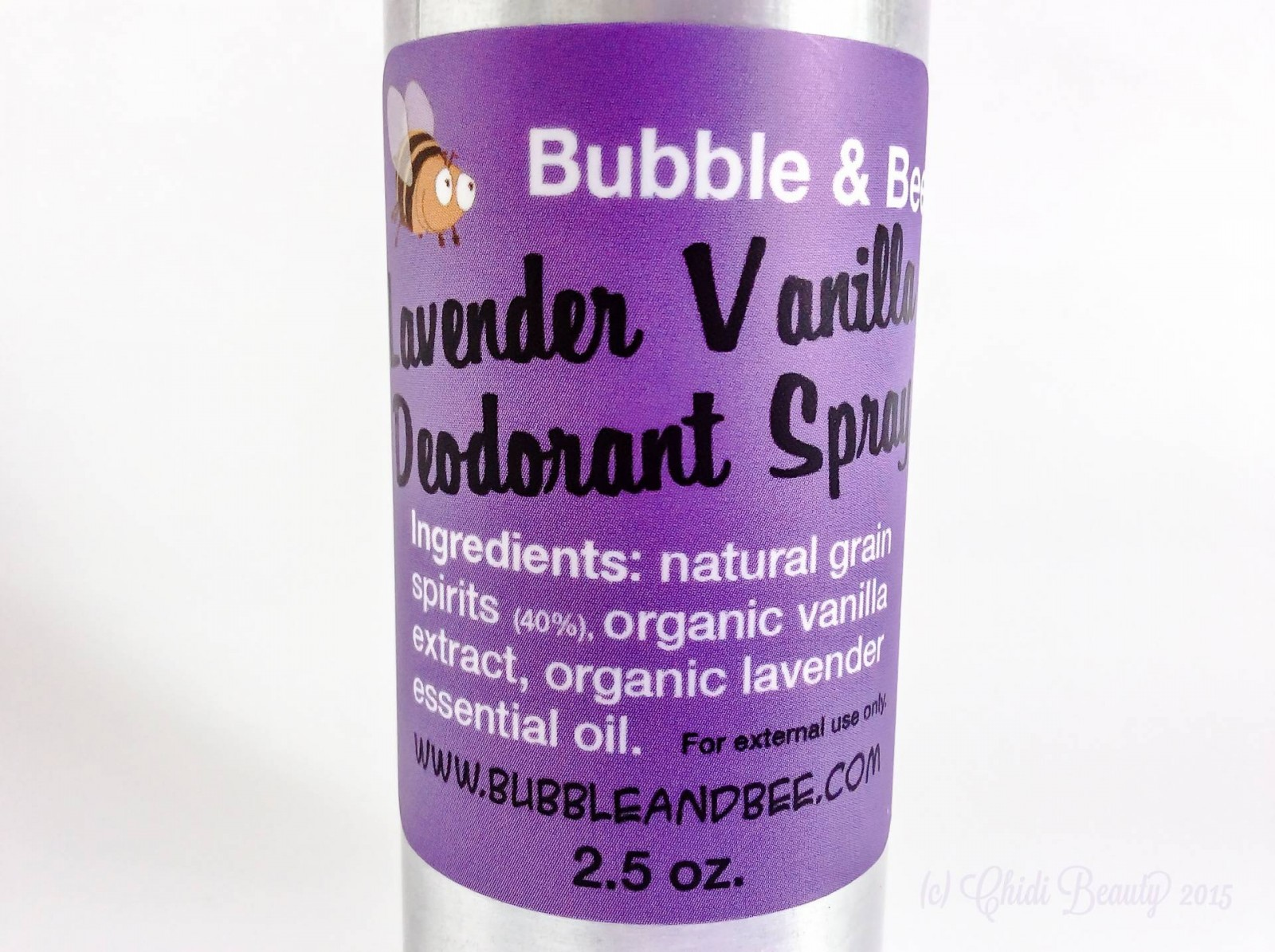 Bubble & Bee Organic Deodorant Spray in Lavender Vanilla (2.5 oz)