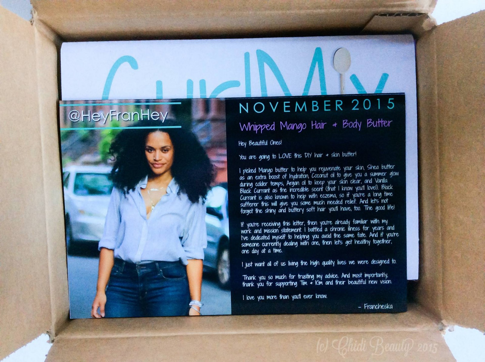CurlMix Subscription Box - November 2015 HeyFranHey Letter