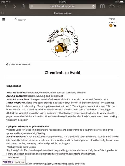 Bubble & Bee Chemicals to Avoid Page • chidibeauty.com
